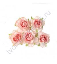 Кудрявые розы 4 см, 5 шт, цвет коралловый двухтоновый