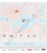 Бумага для скрапбукинга двусторонняя, коллекция Розы, 30.5х30.5 см 190 гр/м, лист Аванлаж