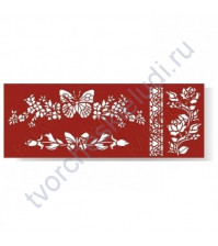 Трафарет Бабочка в цветах, 8.5х23 см