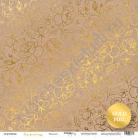 Бумага для скрапбукинга односторонняя с фольгированием 30.5х30.5 см, 190 гр/м, коллекция Tenderness, лист Крафт