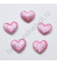 Тканевая апликация с глиттером Сердце, размер 2.8х3.2 см, 1 шт, цвет розовый