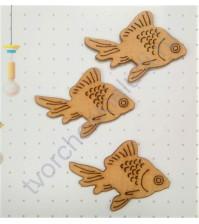 Декоративный элемент из шпона на клеевом слове Рыбка, 31х46 мм, цвет бук