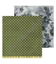Бумага для скрапбукинга двусторонняя 30.5х30.5 см, 180 гр/м2, лист Армейские звезды