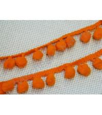 Тесьма с помпончиками, шир. 21 мм, цвет оранжевый, 1 метр
