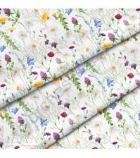 Ткань для рукоделия Ромашки и колокольчики, 100% хлопок, плотность 150 гр/м2, размер отреза 33х80 см