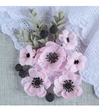 Цветы ручной работы из ткани Анемоны, 6 шт, цвет розовый