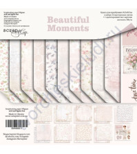 Набор двусторонней бумаги Beautiful Moments , 30.5х30.5 см, 190 гр/м, 10 двусторонних листов + 1 лист с карточками