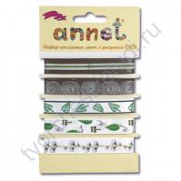 Набор атласных лент 12 мм с рисунком Annet-10, 5 видов по 1 метру