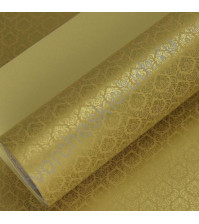 Бумага упаковочная двусторонняя Королевская лилия, 80 гр/м2, ширина 53 см, длина 1 метр, цвет золотой