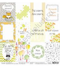 Бумага для скрапбукинга односторонняя коллекция Лисы и еноты, 30.5х30.5 см, 190 гр/м, лист Карточки