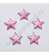 Тканевая апликация с глиттером Звезда, размер 3.2х3.2 см, 1 шт, цвет розовый