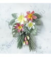 Цветы ручной работы из ткани Тропики, 17 элементов