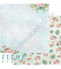 Бумага для скрапбукинга двусторонняя коллекция Дыхание весны, 30.5х30.5 см, 190 гр/м, лист В тени цветов