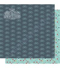 Бумага для скрапбукинга двусторонняя, коллекция Мой яркий мир, 30х30 см, 250 гр/м2, лист Велосипеды и точки