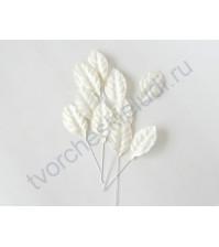 Листья розы белые со стебельком 1.3х3 см, 10 шт
