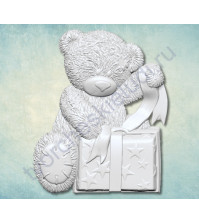Форма силиконовая (молд) Мишка Тедди с подарком, 38х55 мм