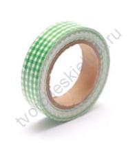 Тканевый скотч Зелёная клетка-11, 15ммх4м