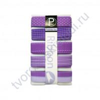 Набор декоративных лент 16 мм с рисунком Lavender, 5 видов по 1 ярду