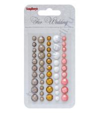 Клеевые граненые камушки Свадьба-2, 50 шт, 5 цветов