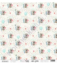 Бумага для скрапбукинга односторонняя, коллекция Сказки на ночь, 30.5х30.5 см, 190 гр\м2, лист Плюшевый