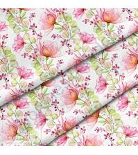 Ткань для рукоделия Прозрачные цветы, 100% хлопок, плотность 150 гр/м2, размер отреза 50х40 см