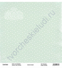 Бумага для скрапбукинга односторонняя, коллекция Базовая зеленая, 30х30 см, 250 гр/м2, лист Звездочки