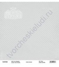 Бумага для скрапбукинга односторонняя, коллекция Базовая серая, 30х30 см, 250 гр/м2, лист Точки