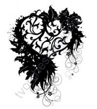 Штамп резиновый Ажурное сердце, 4х5 см