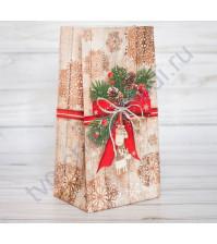 Пакет подарочный без ручек Стильный подарок, 10х19.5х7 см