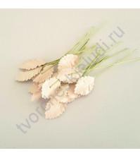 Листья розы средние 4.5 см, 10 шт, цвет розово-персиковый светлый