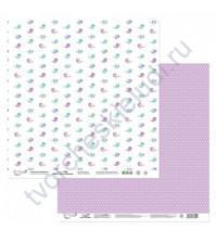 Бумага для скрапбукинга двусторонняя Мята-Лаванда, 190 гр/м2, 30.5х30.5 см, лист 5
