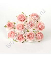 Кудрявые розы 2 см, 5 шт, цвет белый с розовоперсиковой серединкой
