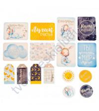 Набор карточек и высечек для журналинга с фольгированием, коллекция Сказки перед сном, плотность 190 гр/м, 16 элементов