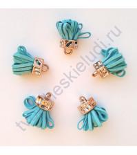 Декоративная кисточка из искусственной замши, длина кисточки 2.5 см, 1 шт, цвет голубой