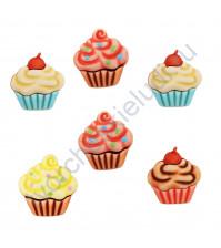 Набор пуговиц Sweet Delights.Cupcakes, 6 элементов
