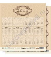 Лист бумаги для скрапбукинга Календарь , коллекция Винтаж Базовая , 30 на 30 плотность 190 гр
