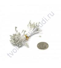 Тычинки двусторонние с глиттером, 80 шт, цвет серебряный