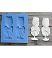 Форма силиконовая (молд) для полимерной глины, Свадебные фужеры, 2 элемента