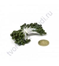 Тычинки двусторонние 3-4 мм, пучок 80 шт, цвет темный зеленый