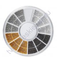 Набор декоративного топинга (микробисера), размер 0.6-0.8 мм, цвет металлический микс