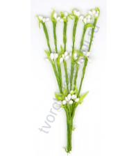 Декоративный букетик Весенний, 6 веточек с тычинками, высота 11 см, цвет белый