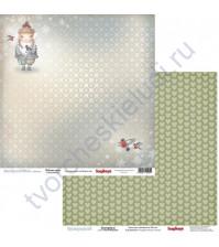 Бумага для скрапбукинга двусторонняя, коллекция Однажды Зимой, 30.5х30.5 см 190 гр/м, лист Зима Пришла
