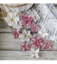 Цветы ручной работы из ткани, 12 шт, цвет розово-белый микс