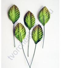 Листья розы средние зеленые однотонные 4.5х2.5 см, 10 шт