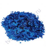 Мини пайетки круглые с матовым эффектом 3 мм, 10 гр, цвет синий