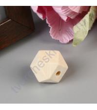 Бусины деревянные Многогранник, без покрытия, 15x15 мм, 1 штука