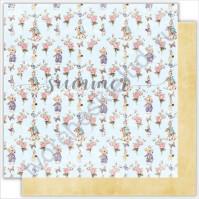 Бумага для скрапбукинга двусторонняя 30.5х30.5 см, 190 гр/м, коллекция My honey bunny, лист Bunnies