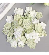 Набор бумажных лепестков с принтом 23 мм, 50 шт, цвет салатовый узор