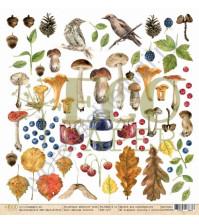 Бумага для скрапбукинга односторонняя коллекция Осенний лес, 30.5х30.5 см, 250 гр/м, лист Обложка