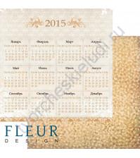 Лист бумаги для скрапбукинга Календарь, коллекция Ожидание праздника, 30х30, плотность 190 гр